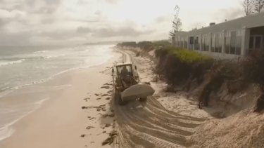 Perth's winter weather has caused extensive erosion to Fremantle's ma-made Port Beach.