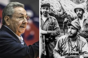 Raul Castro, left, and with his brother, Fidel, during the revolution.