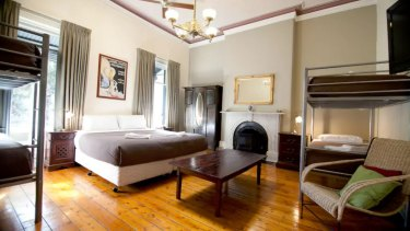 A bedroom at the Nunnery guesthouse in Fitzroy.