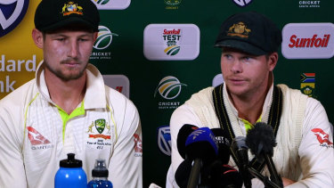 Cameron Bancroft and Steve Smith face the media in Cape Town.