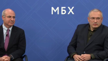 Kremlin critic Mikhail Khodorkovsky, right, and financier William Browder attend a joint press conference in London.