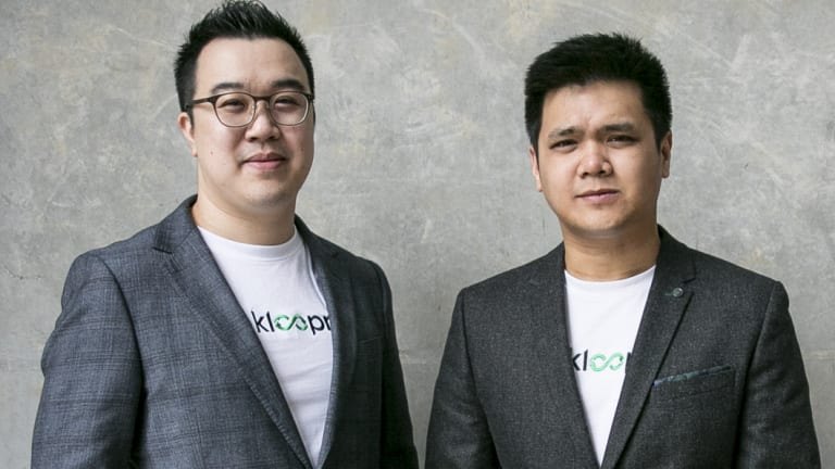 Joe Wee Lim (L) and Brian Foong, founders of delivery app competitor Kloopr.