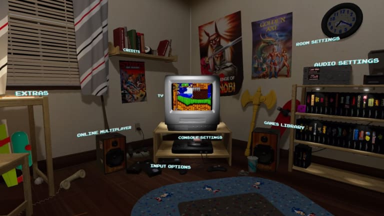 The main menu is a very cute simulation of a kid's room in the 90s. The lighting even changes depending on the time of day!
