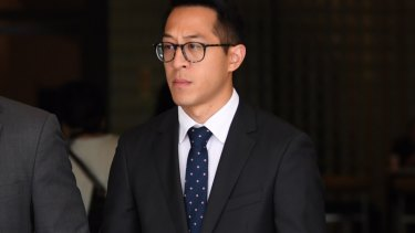 Joseph Lee leaves Downing Centre Local Court on Thursday.
