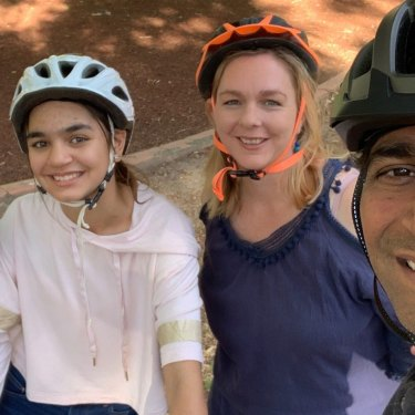 Anisha Digumarti, 10; Ishika Digumarti, 12; Michaela Sargent and Rama Digumarti, an Indooroopilly family who have been out cycling since the pandemic began.