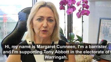 Former Crown prosecutor Margaret Cunneen endorses Tony Abbott for Warringah.
