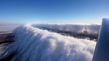 """The """"morning glory cloud"""" formation over Burketown in north-west Queensland."""