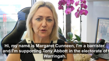 Former Crown prosecutor Margaret Cunneen endorses Tony Abbott for Warringah.