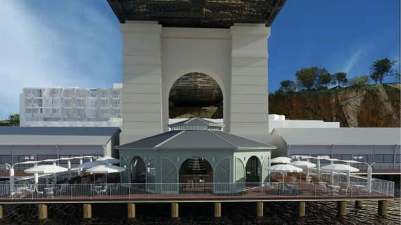 Over-water champagne and oyster bar under construction in Brisbane