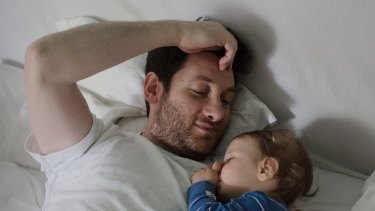 Arts programmer Murat Saglamoglu, 34, on paternity leave with Oskar.
