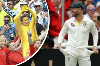 Nothing to see here: David Warner plays up to the Edgbaston crowd taunting him over the sandpaper affair during the 2019 Ashes campaign.