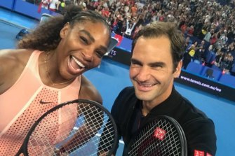 Roger Federer's selfie of him and Serena Williams at the Hopman Cup.