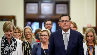 Victorian Premier Daniel Andrews and the late minister for the prevention of family violence Fiona Richardson, left, at the release of the royal commission report.