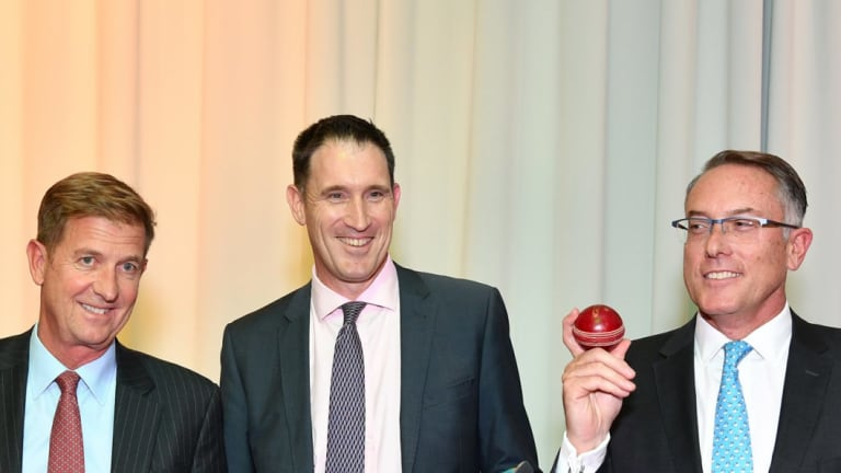 Foxtel CEO Patrick Delany (right) at the cricket rights announcement.