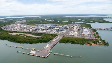Aerial View of the Ichthys LNG Project at Bladin Point.