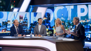 Waleed Aly with his co-hosts on Ten's panel show.