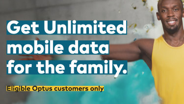 An ad for one of Optus' new 'unlimited' data plans.