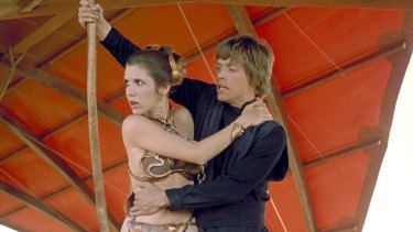 Mark Hamill as Luke Skywalker and Carrie Fisher as Princess Leia in a scene from Star Wars: Episode VI, Return of the Jedi.