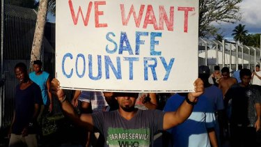 A refugee protest on Manus Island,