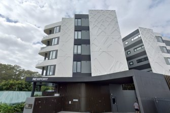 A body was found at the Newport Hamilton Apartments in Brisbane on Monday.