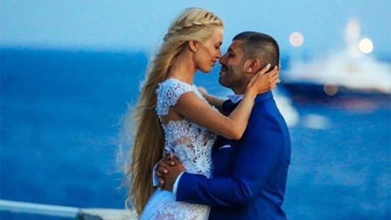 John Macris and Viktoria Karyda on their wedding day in Mykonos.