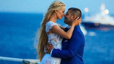 John Macris and Victoria Karyda on their wedding day in Mykonos.