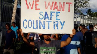 A refugee protest on Manus Island,