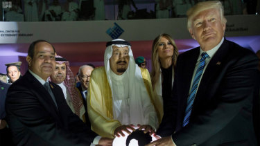 From left: Egyptian President Abdel Fattah al-Sissi, Saudi King Salman, US first lady Melania Trump and President Donald Trump, visit a new Global Centre for Combating Extremist Ideology in Riyadh, Saudi Arabia, last year.