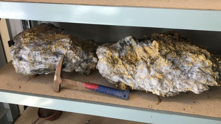 Two specimen stones - weighing 95kg and 69kg - recovered from the Beta Hunt mine.