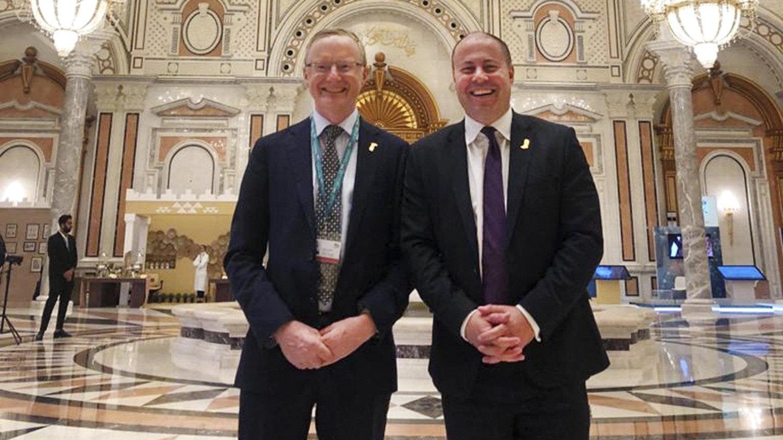 Treasurer Josh Frydenberg and RBA governor Philip Lowe in Riyadh.