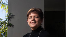 AMP's new CEO, Alexis George,  at her Sydney home on Friday. She takes the reins at the battered wealth company on Monday.