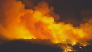 An aerial night view of the Fraser Island bushfire as it raged.