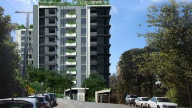 Onje of the three towers proposed for S1 Unit Trust's development for Lambert Street, Kangaroo Point.
