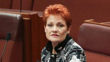 Senator Pauline Hanson during debate in the Senate on Monday.