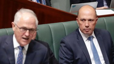 Then-Prime Minister Malcolm Turnbull and Minister for Home Affairs Peter Dutton on August 20.