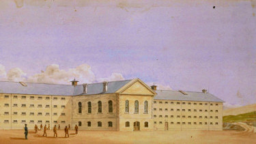 An illustration of Fremantle Prison, in Western Australia,  which was built in the 19th century and was first known as The Convict Establishment.
