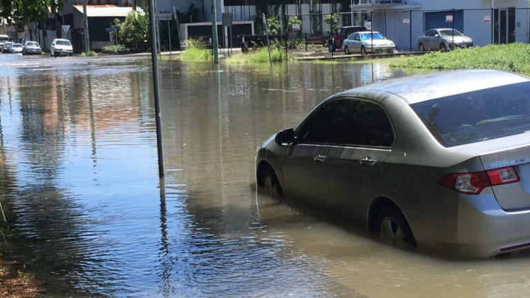 A king tide in Windsor on January 3, 2018 saw streets flooded and cars partially submerged.