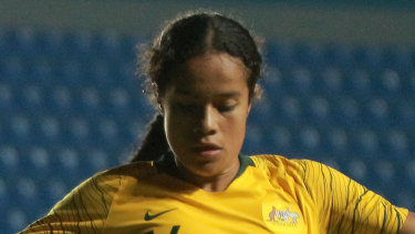 Wonderkid: Mary Fowler playing for the Young Matildas.
