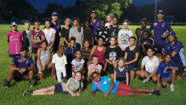 Dockers players after taking one of the clinics in the Kimberley last week.