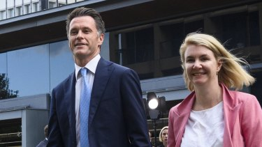 New leader of NSW Labor Chris Minns and his wife Anna after he was elected by caucus on Friday.