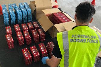 Some of the seized cigarettes in Perth.