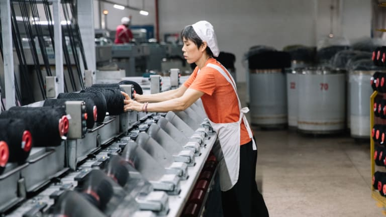 The Danmao Textiles factory processes 3000 tonnes of Australian wool every year.