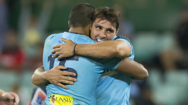 Test of character: NSW fought back from a 20-7 half-time deficit to beat the Rebels 23-20.