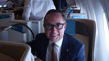 Alan Joyce taking an Airbus A350-1000 for a test flight around Sydney in February 2018.
