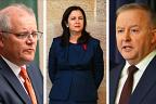 Prime Minister Scott Morrison, Queensland Premier Annastacia Palaszczuk and federal Labor leader Anthony Albanese.