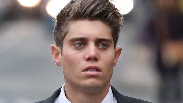 Australian cricketer Alex Hepburn arrives at court.