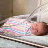 Eyebrow artist to the stars Amy Jean and husband Fowad welcomed a daughter named Claudia Jean last month.
