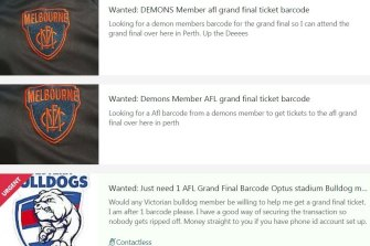 West Australians trying to secure tickets to the AFL grand final by asking for Victorian membership barcodes on Gumtree.