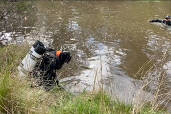 Police searching Jacksons Creek in Diggers Rest for the body of Adelaide man Kerry Giakoumis.