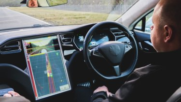 A supplied image of A Tesla Model S which has been upgraded with Bosch upgraded autonomous driving systems being tested at the Anglesea Proving Grounds (AARC) late last year. The vehicle will be trialed on the open road in Victoria this year, 2019.